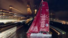 Arrivée du bateau gustave-roussy lors de la transat jacques vabre 2017